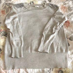 Loft Sweater with Embellished Shoulders